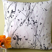 Baby's breath white hand printed pillow cover by susanshinnick
