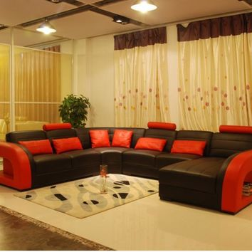 Free Shipping Furniture Sofa Classic Black and Red Genuine Leather Sofa Large Size U Shaped Couches Living Room Corner sofas