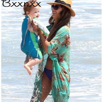 VONE05L High Quality Half Sleeve Print Swimsuit Cover Up Summer New Style Sexy Beach Cover Up Bathing Suit