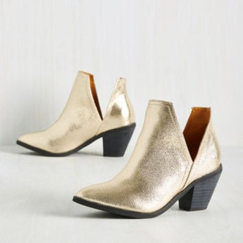 Wishing You the Very Zest Bootie in Gold | Mod Retro Vintage Boots | ModCloth.com