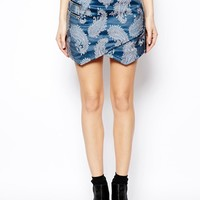 ASOS Denim Premium Jacquard Envelope Skirt