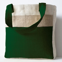 Burlap Market Tote In Moss Green Color Block Burlap Shopping Bags Internal Pocket With Zipper