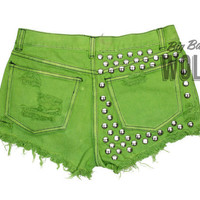 Green Regular Waist Dyed Lime Green Heavily by shopbigbadwolf