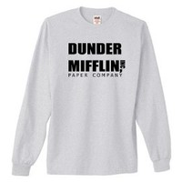 DUNDER MIFFLIN PAPER COMPANY Long Sleeve T-Shirt~Ash~Adult-SM