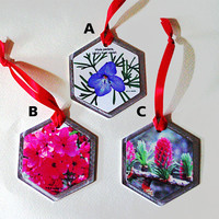 "Floral Christmas ornament, 2.6""x3"" white coated aluminum hexagon ornament, nature photograph, with red ribbon"