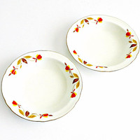 "Vintage Halls Superior China Fruit Bowls, Jewel Tea ""Autumn Leaf"" Bowls 1950s, Small China bowls, Set of Two."