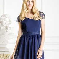 Skater Dress Backless Lace in Navy