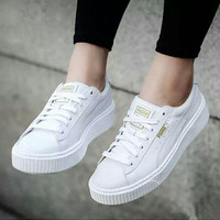 Puma Fashion women Suede Platform sports shoes white H-TXXC-WXXC