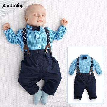 2017 Spring Baby Boys Clothing Set Baby Rompers Gentleman Long Sleeve Plaid  Shirt + Bow tie + Suspender Trousers newborn clothe