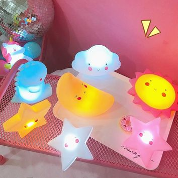 Ins Unicorn Colorful Star /Brontosaurus/ Popodino/Moon /Sun /Light/Cloud/dinosaur/Toys Small Sleeping Night-light Lamp Kids Gift