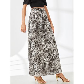 Multicolor Leopard Print Boxed Pleated Skirt