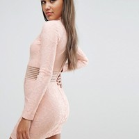 Rare London Mesh Insert Lace Pencil Dress at asos.com