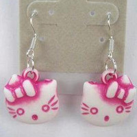 puffy pink & white Hello Kitty earrings