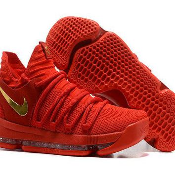 Nike KD X 10 Chinese Red Gold Basketball Shoes