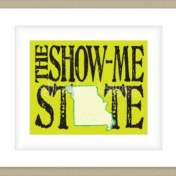 8x10 Missouri Print, The Show Me State Typography Art Custom Color Map Art