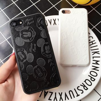 Luxury PU Leather Cartoon Mickey Cases For iPhone 5 5S 6 6S 8 Plus X Soft White Black Mouse Phone Cover for iPhone 7 7Plus Case