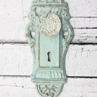 Key style hook // Skeleton Key Wall Hook //  Coat Hook // Cottage Decor // entry hook // mint decor // glass knob hook // doorknob hook
