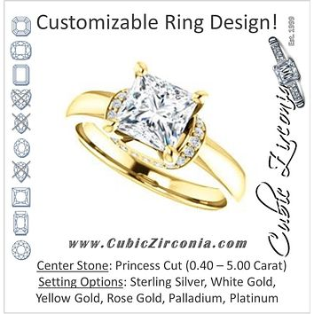 Cubic Zirconia Engagement Ring- The Jennifer Elena (Customizable Princess Cut featuring Saddle-shaped Under Halo)