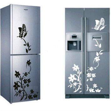 Butterfly Flower Kitchen Refrigerator Wall Sticker Home Decor Living Room Wall Decals Art Murals Poster Adesivo De Parede