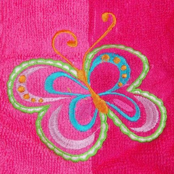 Butterfly Pink Washcloths Embroidered Lot 8 No Boundaries Face Cotton Mauve Set