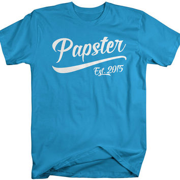 Men's Papster Est. 2015 T-Shirt Grandpa Shirts Father's Day Gift Idea Established Grandfather Tee