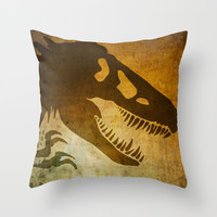 Jurassic Park Minimalist Poster Throw Pillow by Ed Burczyk