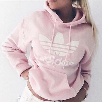 """Fashion """"Adidas"""" Print Hooded Pullover Tops Sweater Sweatshirts Pink nude"""
