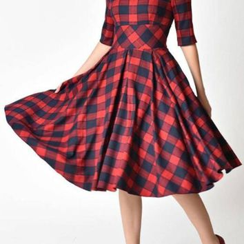 Red Plaid Backless Tutu Prom Evening Party Elegant Midi Dress