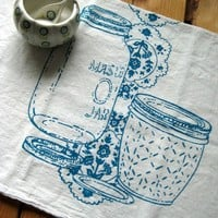 TeaTowel - Screen Printed Organic Cotton Mason Jar Flour Sack Towel - Awesome Kitchen Towel for Dishes