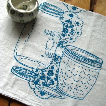 TeaTowel   Screen Printed Organic Cotton Mason Jar Flour Sack Towel    Awesome Kitchen Towel For