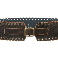 "2 3/4"" Wide High Waist Vintage Crack Print Distressed Soft Leather Belt"