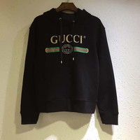 GUCCI Women/Man GUCCI Classic Logo Wolf head Embroidery Top Sweater Pullover Hoodie