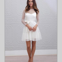Short Wedding Dresses Long Sleeves A Line See Through Vestido Noiva Curto Tulle Cheap Bride Wedding Gowns