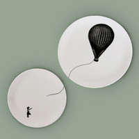 Illustrated Fine Bone China Ceramic Plates, Black and White Pen and Ink surreal drawing - Girl with a Hot Air Balloon