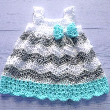 Baby Girl Crochet Dress, Chevron Baby Dress ,Baby Crochet Dress, Grey blue Baby Dress