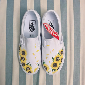 Hand-Painted Custom Vans - Sunflowers/Floral