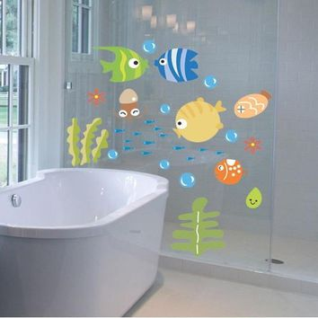 wall Stickers for Bathroom Stickers in bathtub for kids bath fishes grasses underwater for wall/ home/room/window DIY decoration