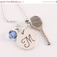 Winter Sale Personalized Silver Plated Pewter Initial Charm Necklace with Tennis Racquet Charm and Swarovski Elements Crystal Birthstone