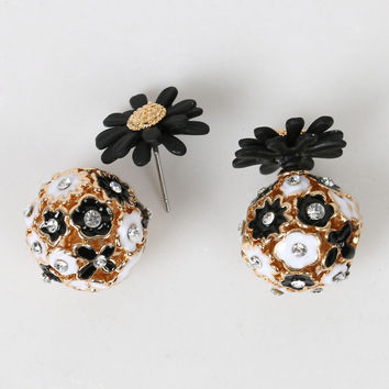 Black Cut Out Ball Crystal Decorated Daisy Earrings