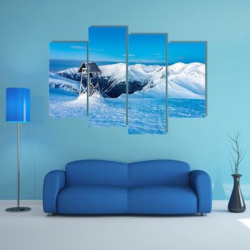 Winter Landscape In Snowy Mountains Multi Panel Canvas Wall Art