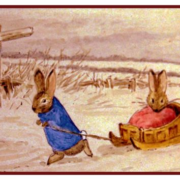 Peter Pulls Ben Rabbit on Sled Inspired by Beatrix Potter Counted Cross Stitch Pattern