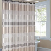 Metallic Striped Gold Fabric Shower Curtain