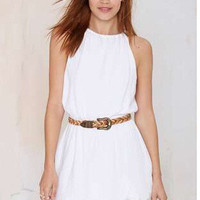 Summer White Lace Sleeveless One Piece Dress [4915015812]