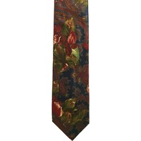 Cambridge Classics Floral Paisley Wide Silk Tie - Dark Blue