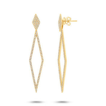 0.56ct 14k Yellow Gold Diamond Ear Jacket Earring with Studs