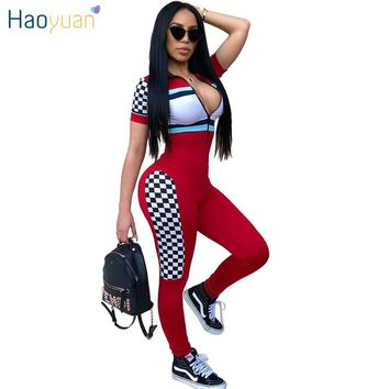 HAOYUAN Rompers  Jumpsuit 2018 Full Bodysuit Zip UP Color Block  Overalls