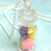 gummy bears in a jar necklace
