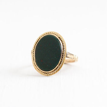 Vintage 14k Yellow Gold Bloodstone Ring - Size 7 1/4 Art Deco 1930s 1940s Fine Green Red Gemstone Statement Jewelry