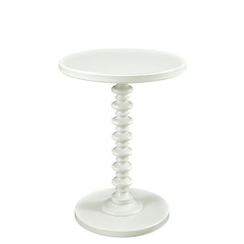 Powell White Round Spindle Table