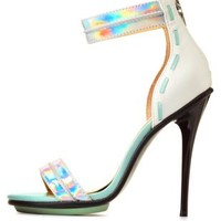 Silver Combo GX by Gwen Stefani Holographic Single Strap Heels